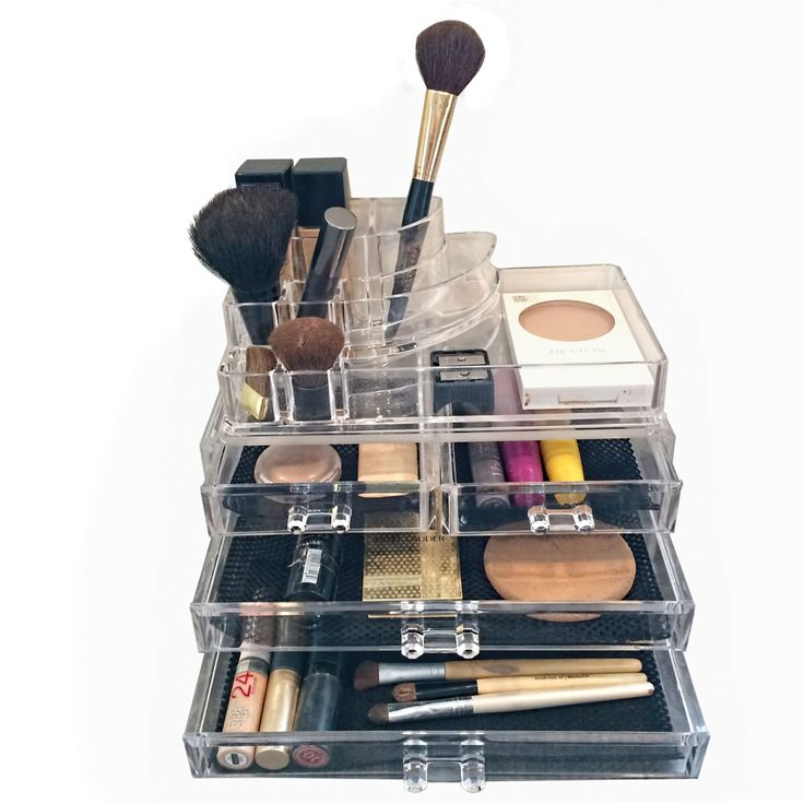 Acrylic Cosmetic Organizer With Both Open Compartments And Drawers.  Http://mycosmeticorganizer.