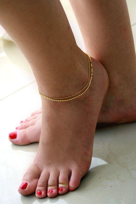 Ankle Bracelet Gold  Ankle Bracelet Gold  Ankle Bracelet Gold Ankle Bracelet Gold Bracelet by meravlevran, $45.00