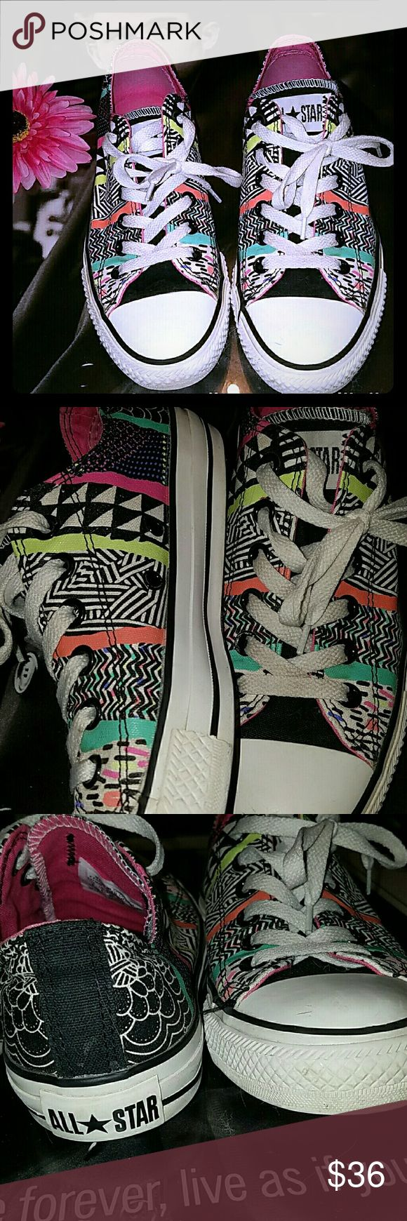 Converse All Star Converse All Star neon doodle print. Women size 8 and men would be 6. The stripes are coated. They are used, but wonderful condition! Thanks so much for looking!! Converse Shoes