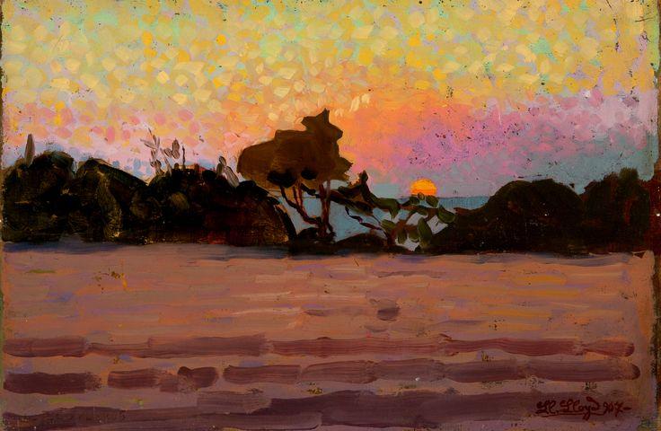 Llewelyn Lloyd, Paesaggio all'alba, 1907, olio su tavola, 15,2x22,8 cm.  Pinacoteca il Divisionismo