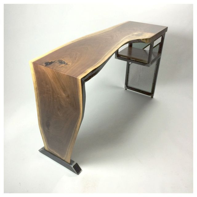 Custom Made Live Edge Waterfall Desk Modern Industrial Steel Wood