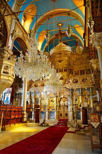 The unusual Baroque interior of the Greek Orthodox Metropolitan Cathedral of the…