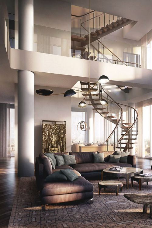 stairs + double height ceiling luxurious interior design ideas perfect for your projects. #interiors #design #homedecor www.covetlounge.net