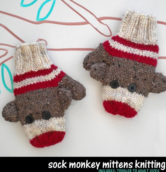 Sock monkey mittens knitting pattern - There is nothing sock monkey I don't love. These are adorable.