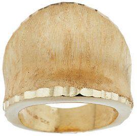 As IsVeronese 18K Clad Satin Finish & Diamond Cut Concave Ring