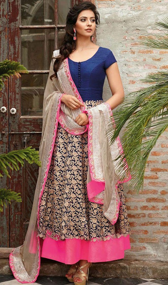 #NavyBlue Net Churidar #Anarkali #Suit | @ $155.89