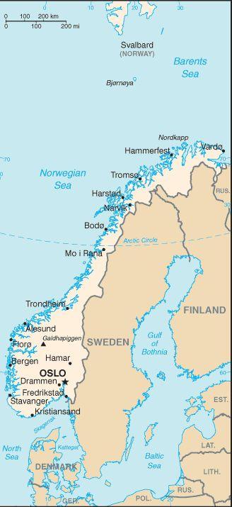Maps of Scandinavia: Map of Norway