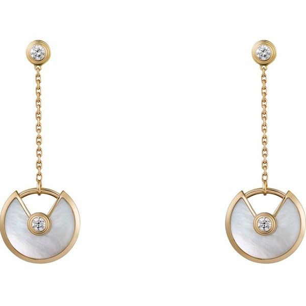 CARTIER Amulette de Cartier 18ct yellow-gold, white mother-of-pearl... ($4,585) ❤ liked on Polyvore featuring jewelry, earrings, gold diamond earrings, mother of pearl jewelry, diamond jewelry, white gold jewellery and gold jewelry