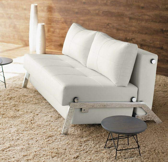 Wohnzimmer Runde Beistelltische Weiße Wohnzimmermöbel Weißes Ledersofa