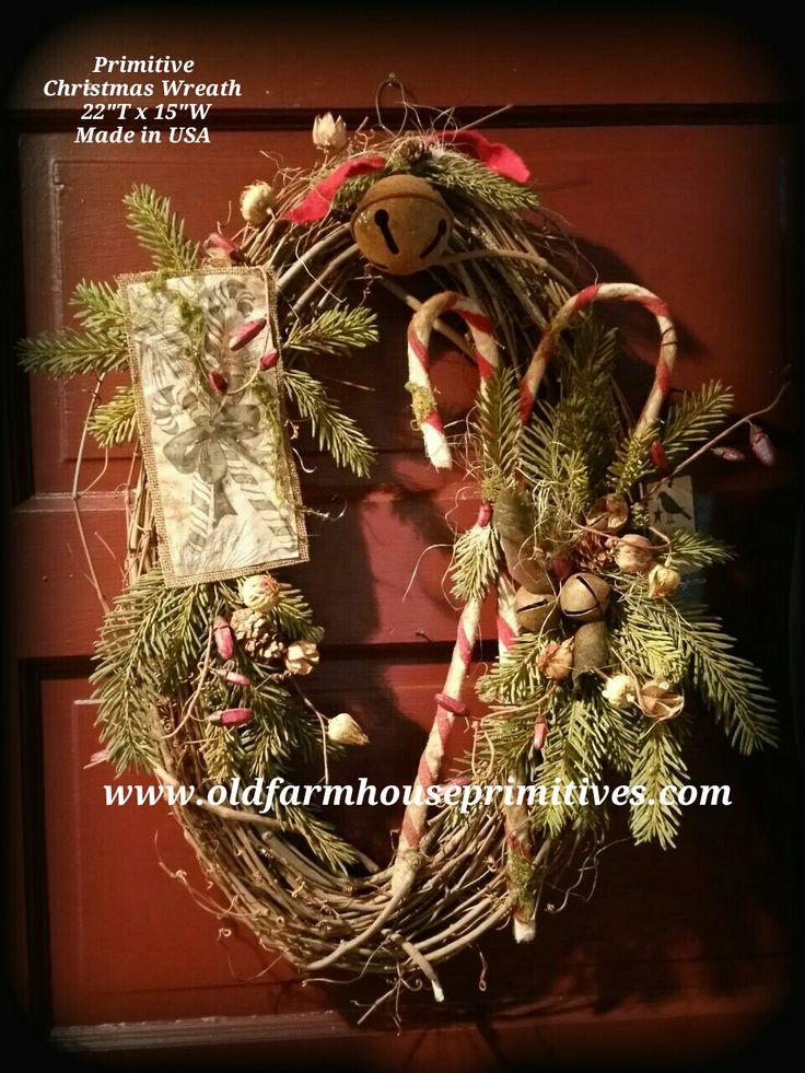Primitive Grapevine Christmas Wreath (Made In USA)