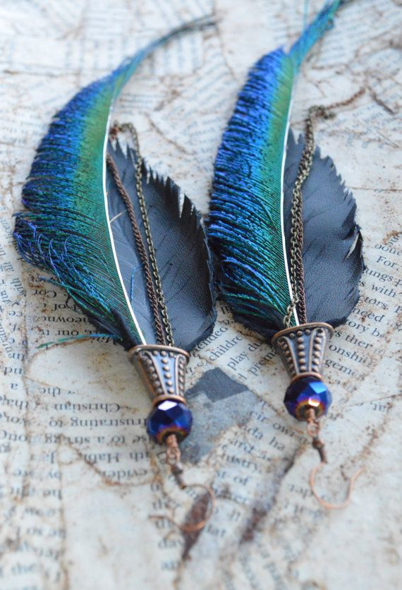 Cooper, Peacock Feather, Freshwater Pearls, and Suede Boho Chic Long Feather Earrings with Bronze Chain Accents by Adrienne Adelle $34.95