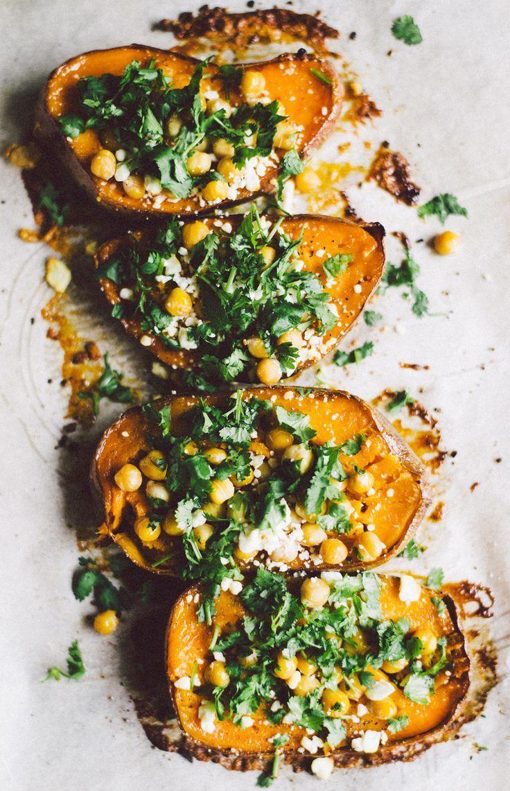 Roasted Sweet Potato with Chickpeas, Cilantro, and Feta.