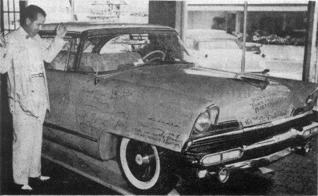 """In addition to the jacket and pants, Elvis also had to replace his new Lavender Lincoln while in Miami. Brian Petersen in """"The Atomic Powered Singer"""" wrote, his fans got to his brand new Lincoln Premiere and wrote endearing notes all over the car. Elvis turned the car in for an all white Continental Mark II at the local Lincoln Mercury dealer....- """"Were Presley's Joints Jumpin? Bah!"""" By Jack E. Anderson, Herald Radio-TV Editor, Miami Herald, Aug. 4, 1956"""