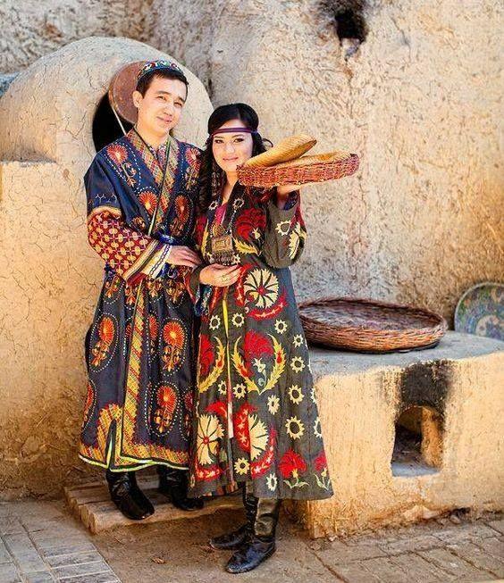 Azeri couple in amazing traditional costumes, Azerbaijan.