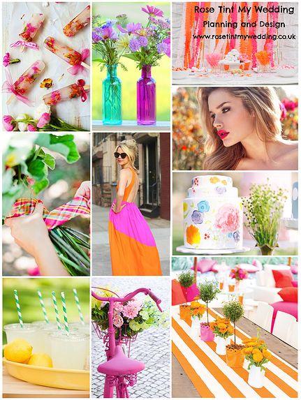 Summer bright wedding inspiration. For bespoke wedding planning, styling and inspiration visit www.rosetintmywedding.co.uk.