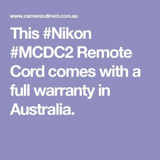 This #Nikon #MCDC2 Remote Cord comes with a full warranty in Australia.