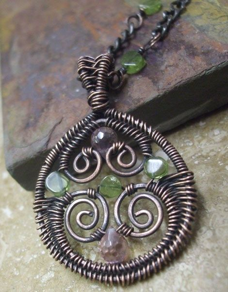 Hidden Treasures Necklace, Copper, Peridot, and Pink CZ Brios, ThePurpleLilyDesigns on Etsy, $47.50