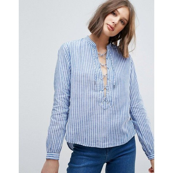 Pepe Jeans Lace Up Front Stripe Blouse (€60) ❤ liked on Polyvore featuring tops, blouses, blue, ruffle blouse, long sleeve tops, striped blouse, long sleeve ruffle blouse and blue long sleeve blouse