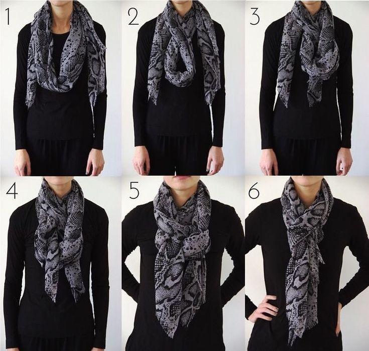Mais um tutorial simples para usar o echarpe e deixar o look mais cool e quentinho no inverno! ❄️☃️✔️ | Maneiras de usar lenço, Roupas cachecol, Lenços fashion