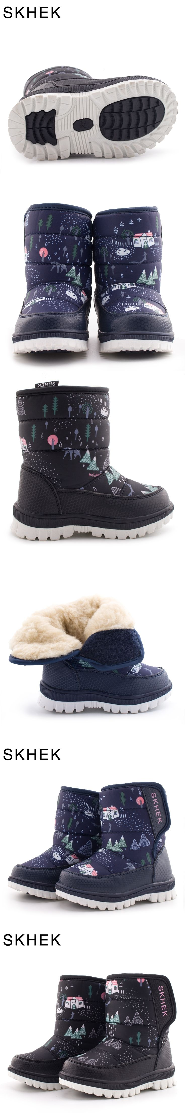 SKHEK Winter Children Round Toe Snow Boots For Girls Boys Flat With Ankle Kids Rubber Boots Unisex Cotton Fabric Shoes