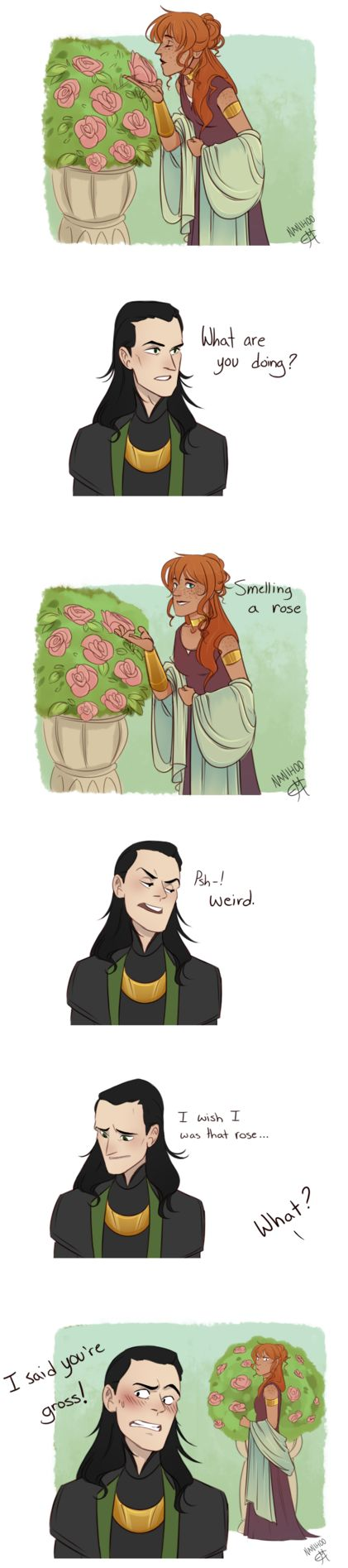 """Vine redraw thing by Nanihoo on DeviantArt - The one and only thing I do not like about this artist, is that she wants Loki to bow before her. She puts herself above him. If you look at much of her drawings, you would be able to make that inference. Loki would """"NEVER"""" do that! Not even to his beloved wife that he cherishes so much! It's not in his nature."""