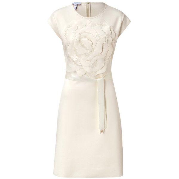 ESCADA Dress Endana ($425) ❤ liked on Polyvore featuring dresses, powder cream, tie dress, floral dress, pink fitted dress, floral fitted dress and fitted cocktail dresses