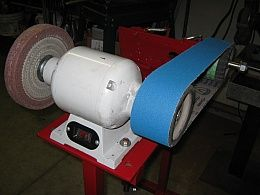 wide belt sander buffering. belt sander/buffer homemade sander and bugger constructed from scrap steel, trailer rollers wide buffering