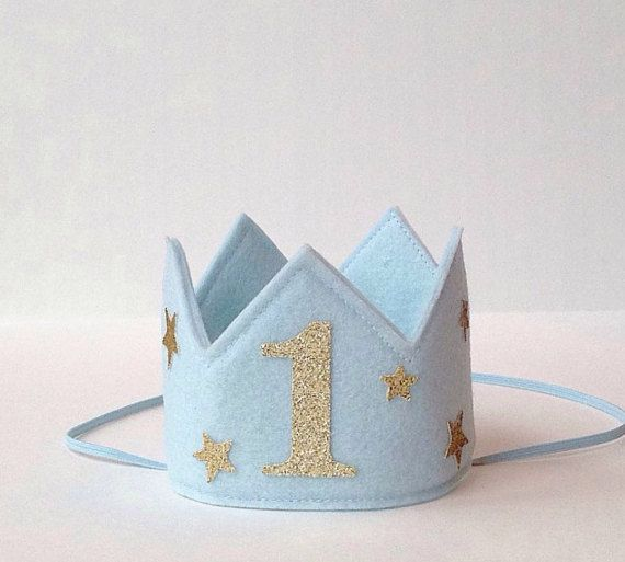 Blue Wool Felt Mini Birthday Stars Crown, Gold Glitter One, Number Age, Boy, Prince, Smash Cake Photo Prop, Baby, One Year Old, Twins
