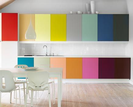 Ha! If we were starting from scratch with no cabinets, i'd totally do this with black and white murals on the white walls...