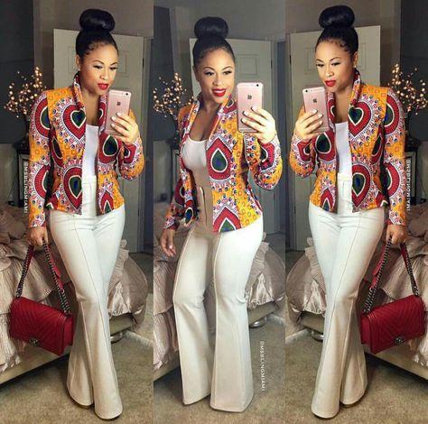 Bel agencement avec veste wax. Africain, Fashion .