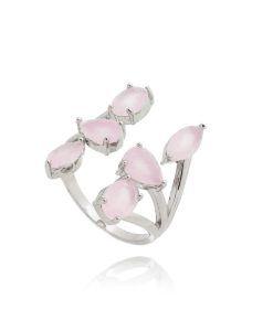 anel delicado com zirconias quartzo rosa e banho de rodio semijoias finas