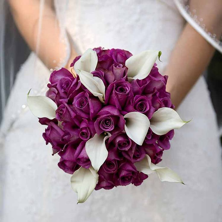 Свадебный букет невесты из сиреневых каллы фото, цветы доставкой