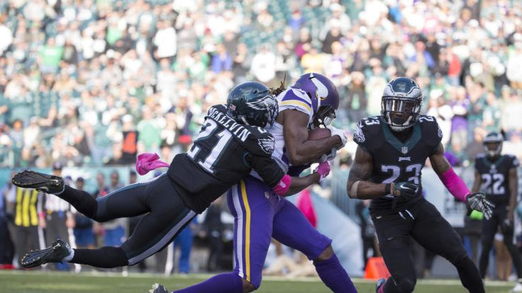 Offensive guard Willie Beavers #64 of the Minnesota Vikings is tackled by defensive back Jaylen Watkins #26 of the Philadelphia Eagles in the fourth quarter at Lincoln Financial Field on October 23, 2016 in Philadelphia, Pennsylvania. The Eagles defeated the Vikings 21-10. (Photo by Corey Perrine/Getty Images)