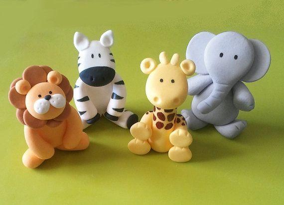 Any 1 Fondant Jungle Animal Cake Topper - Lion/ Elephant/ Zebra/ Giraffe