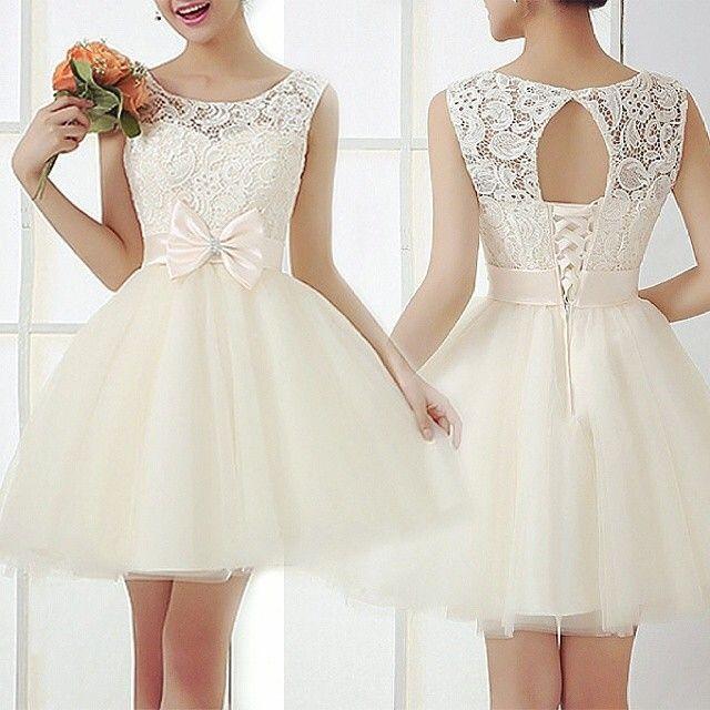 2015 new fashion butterfly crochet lace embroidery stitching vest dress ladies dress wedding  white dress | #Dresses