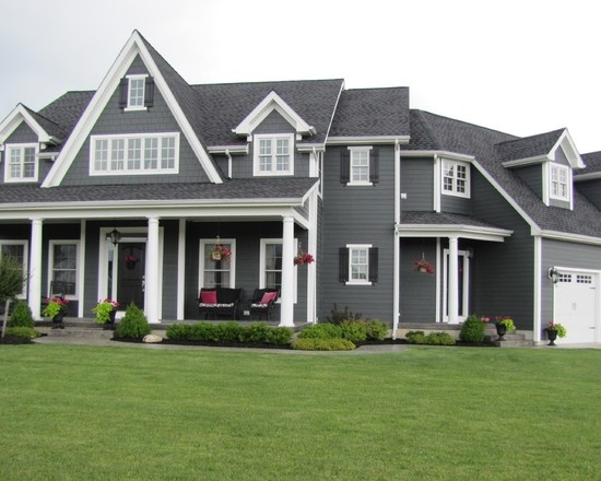 Dark gray siding and white trim dream homes pinterest red front doors james hardie and - Grey exterior house paint ideas ideas ...