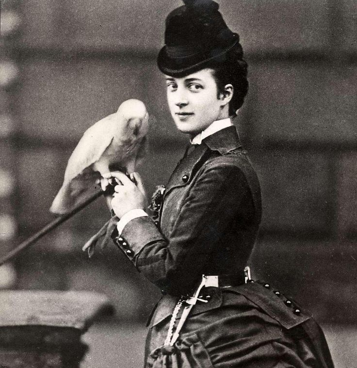 1870s photo of Alexandra of Denmark (1844-1925) with one of her pets.  She was the wife of Edward VII of the United Kingdom.