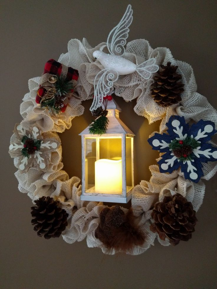 lantern wreath christmas squirrel winter door decor