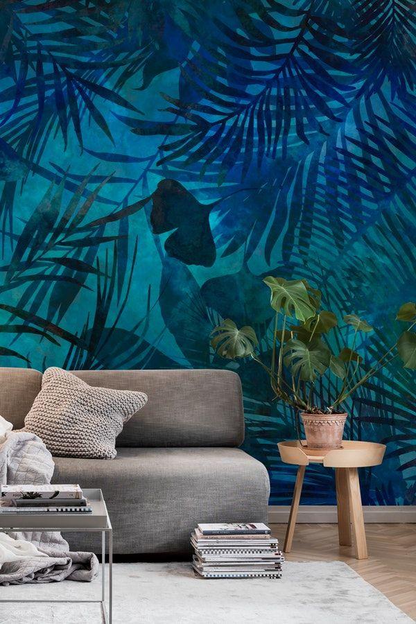 Dark Blue Jungle Wallpaper Blue Wallpaper Bedroom Jungle Wall Mural Jungle Bedroom Wallpaper Blue wallpaper for bedroom