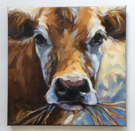 Vache en peinture. Peinture impressionniste à l'huile d'une vache par l'artiste Andrea Landry.  12 x 12 sur la toile. Frais hors le chevalet... prêt à être expédié par le 20 février  La toile est 1/2 profond et sur les côtés peints en noir.  Oeuvre est photographié et limage est ajustée pour correspondre à la peinture originale aussi près que possible.  Si vous avez des questions nhésitez pas à me contacter.  Droits dauteur de toute œuvre dart ne sont pas transférables à vendre. Andrea L...