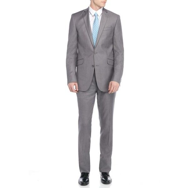 Kenneth Cole Reaction Gray Slim-Fit Solid Suit ($175) ❤ liked on Polyvore featuring men's fashion, men's clothing, men's suits, grey, mens slim suits, mens formal suits, mens gray suit, mens grey suits and mens wedding suits