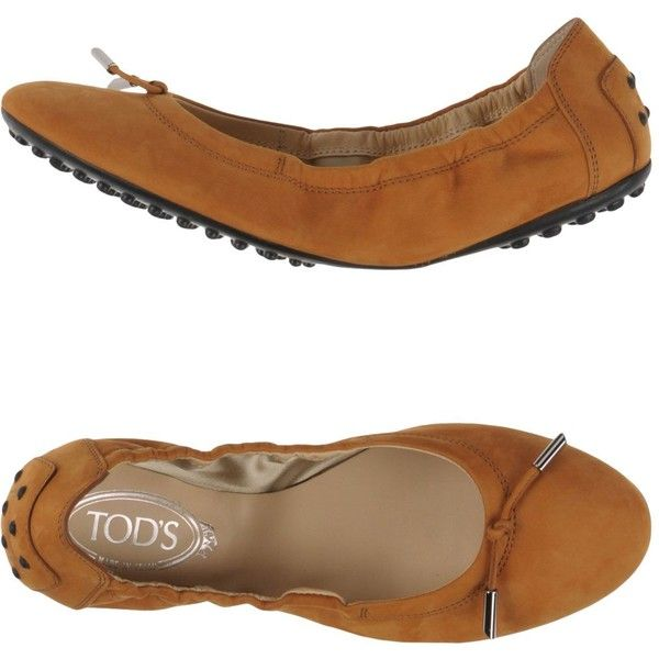 Tod's Ballet Flats ($275) ❤ liked on Polyvore featuring shoes, flats, camel, ballet shoes, camel shoes, round toe flats, round cap and leather ballet shoes