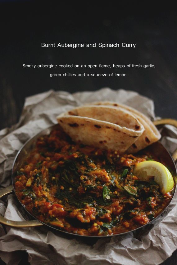 burnt aubergine and spinach curry