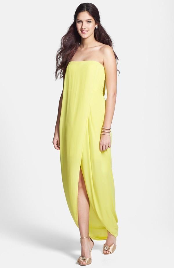 So pretty! Yellow draped dress for prom.