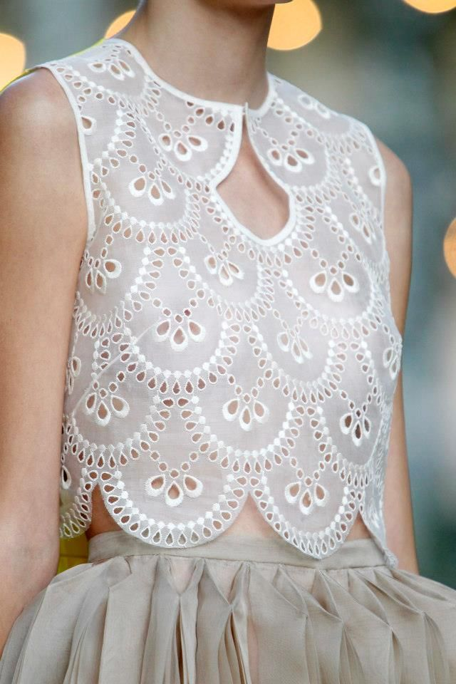 Eyelet fabric at DELPOZO S/S 2013. Going to be big for 2013!