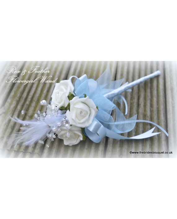 Frozen Wedding Theme! Flowergirl Wands - Feather & Rose Childs Wedding flowers in ivory and baby blue just £10