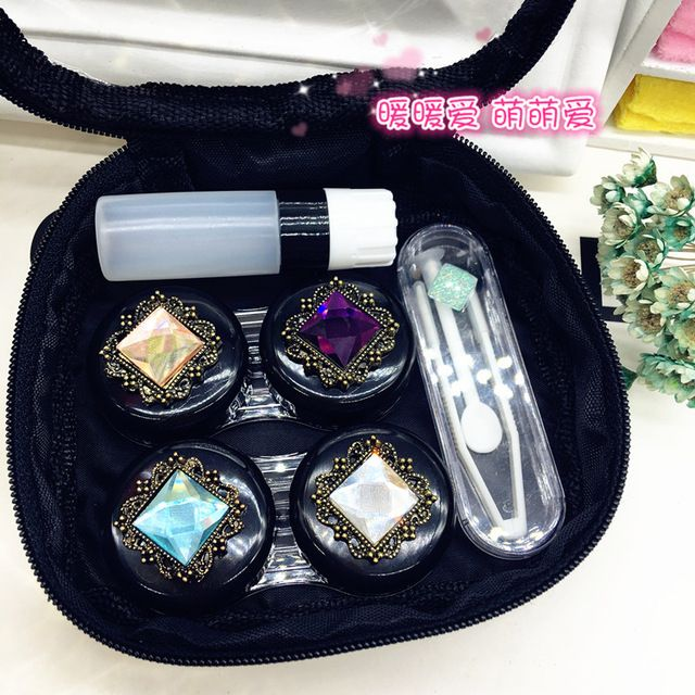 LIUSVENTINA DIY Alloy cute flower gemstone black bag box for lens contact lenses case for glasses