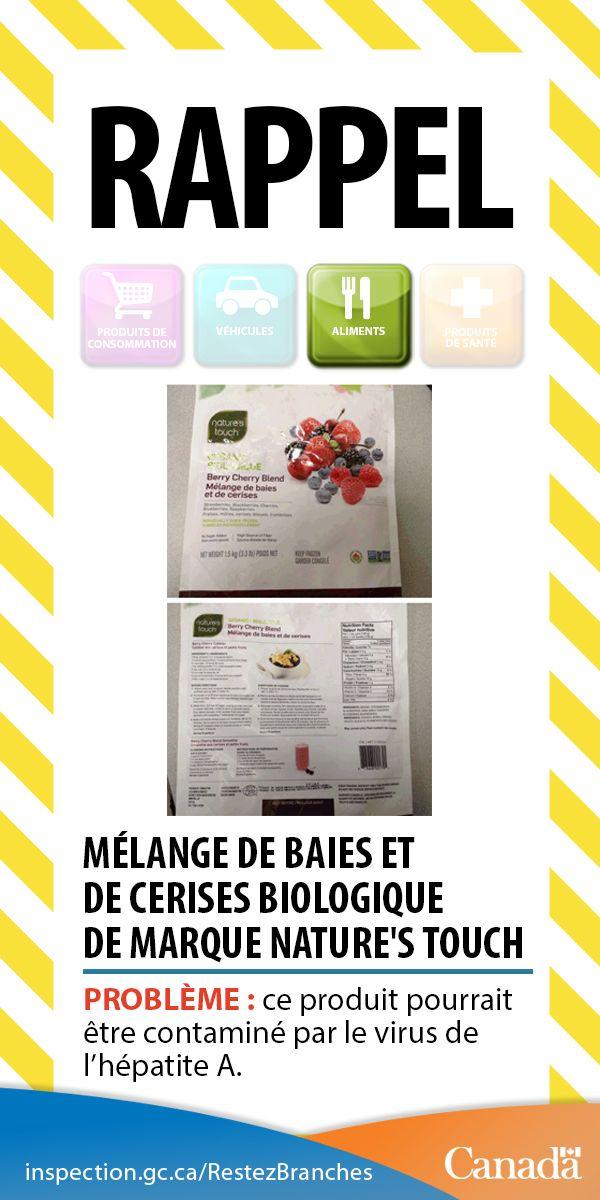 Mélange de baies et de cerises biologique de marque Nature's Touch pourrait être contaminé par l'hépatite A http://www.inspection.gc.ca/au-sujet-de-l-acia/salle-de-nouvelles/avis-de-rappel-d-aliments/liste-complete/2016-04-15/fra/1460746426915/1460746429622