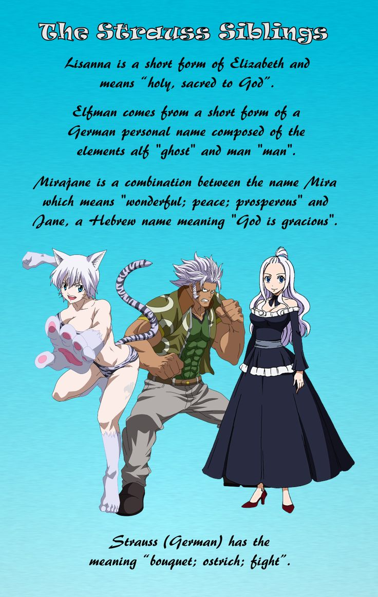 """Names and meanings of """"Fairy Tail"""" characters.   Anime/manga: Fairy Tail [Lissana x Elfman x Mirajane Strauss]"""