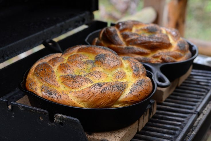 Challah bread baked in a gas grill with fire bricks. I think my hubby is going to finally install a thermometer on our grill for me thanks to Camille's post on how to make this bread. Could make it in the oven, but that's just so boring :)
